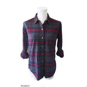 Lord & Taylor plaid Button down tunic Top
